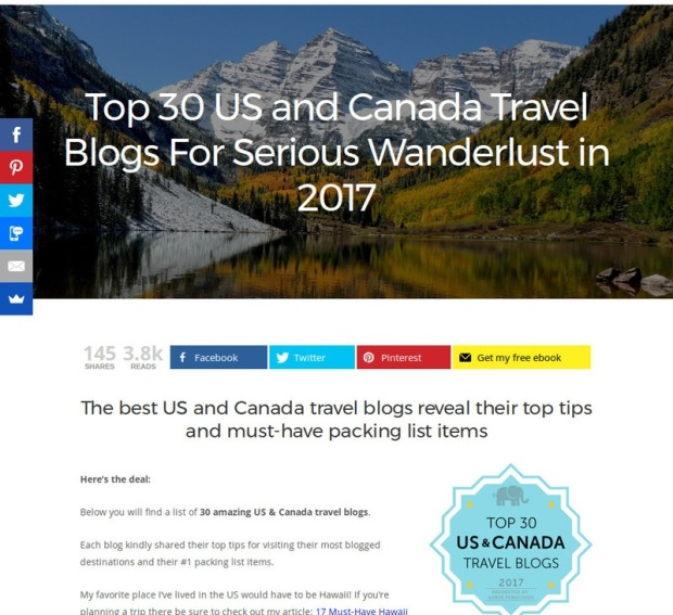 Looking for some travel inspiration? Then check out the Top 30 US and Canada Travel Blogs! Travel on!