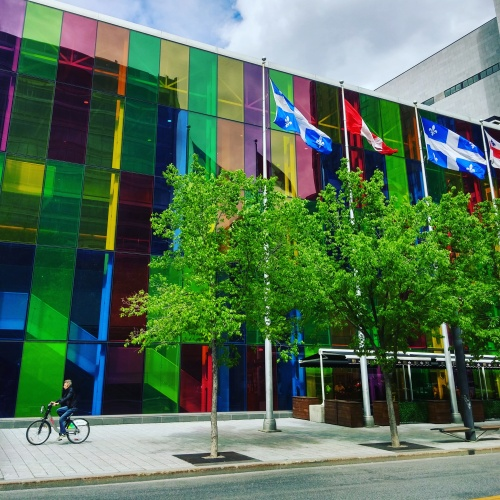 Colorful façade of the Montreal Convention Center/Palais des Congrès.