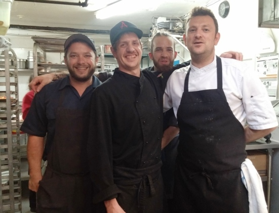 Cooking staff at Auberge Saint-Gabriel in Old Montreal