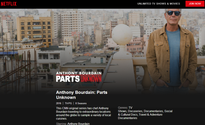 Were you and still are a huge Anthony Bourdain fan and loved his hit TV show Parts Unknown? 8 complete seasons are available on Netflix now. Enjoy! #travel #adventures #travelshow #foodies #food #AnthonyBourdain #Netflix